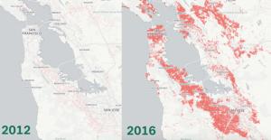 Comparativa de la presència d'habitatges de luxe a la gentrificada ciutat de San Francisco